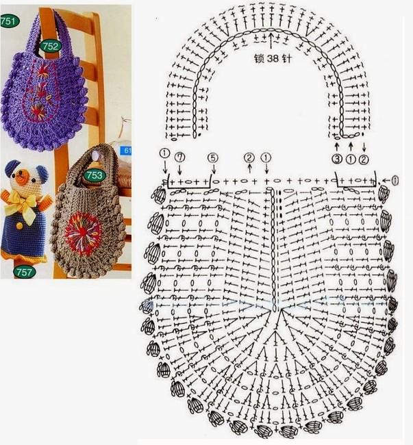 21 Bolsas Magníficas en Crochet con los diagramas ⋆ Manualidades Y ...