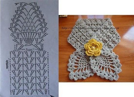 5e298ab48 24 Maravillosas Bufandas en Crochet con Diagramas ⋆ Manualidades Y ...