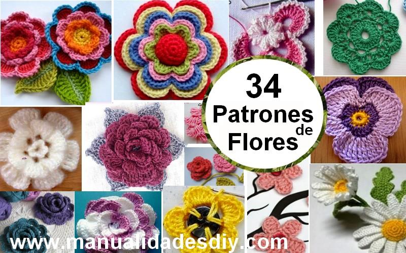 34 Magníficos Patrones de Flores en Crochet ⋆ Manualidades Y ...