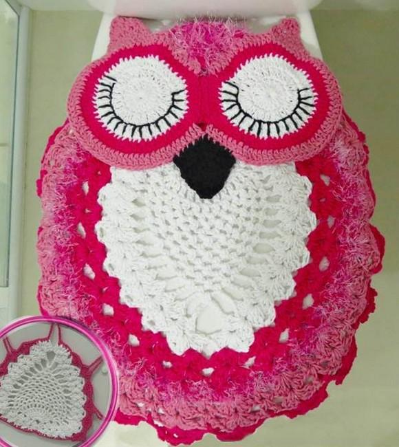 Set De Baño Tejido En Crochet Paso A Paso:Juego de Tapetes para Baño con Búhos – Manualidades Y