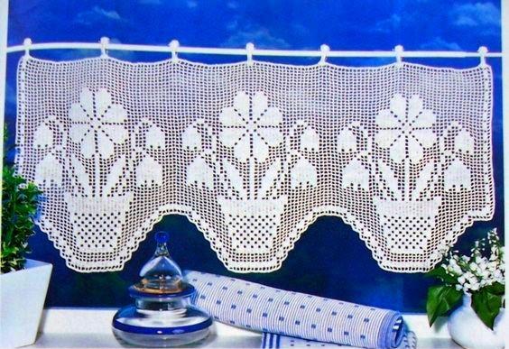 24 patrones de cortinas de ganchillo para cocina   manualidades y ...