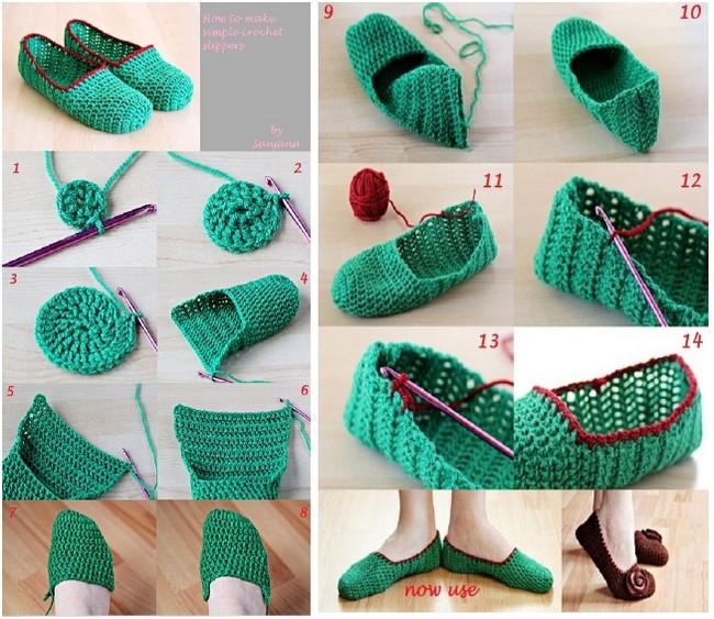 Pantuflas a Crochet con Patrones y Paso a Paso - Manualidades Y ...