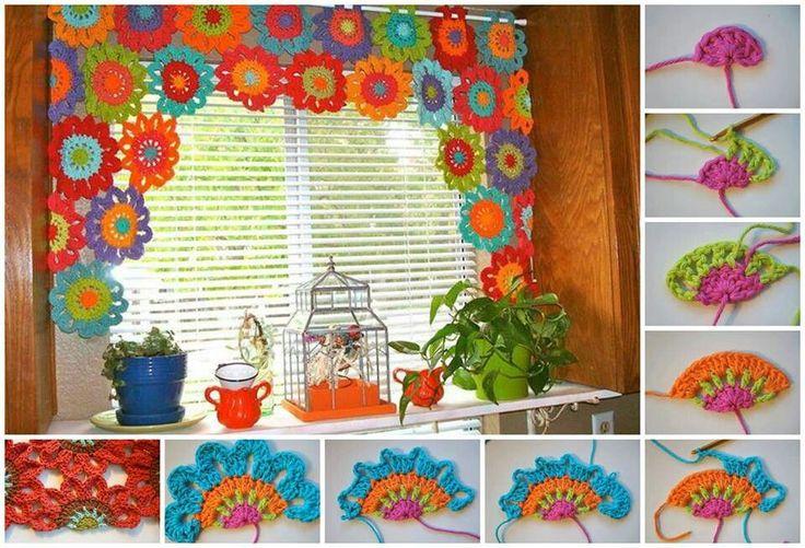 Maravillosas cortinas en crochet paso a paso for Cortinas de cocina hechas