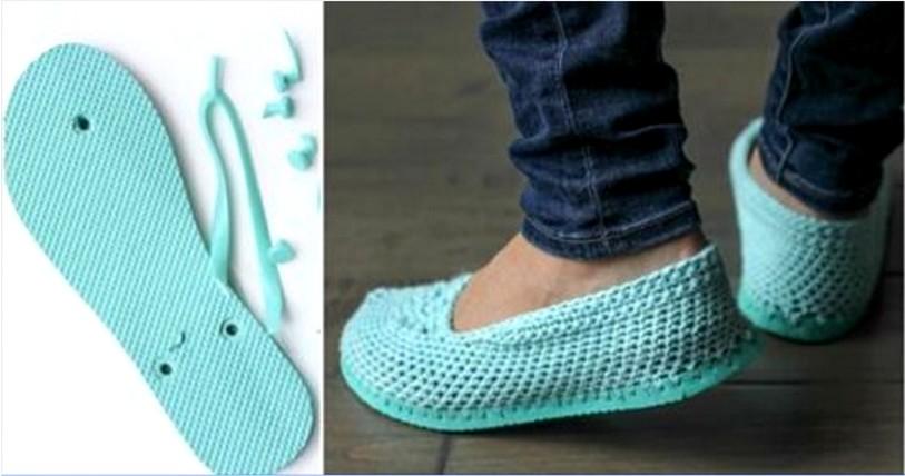 Chanclas conviértidas en sandalias de crochet ⋆ Manualidades Y ...