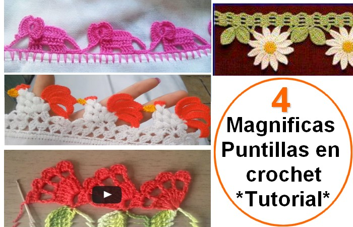 4 magn ficas puntillas en crochet tutorial en v deo. Black Bedroom Furniture Sets. Home Design Ideas