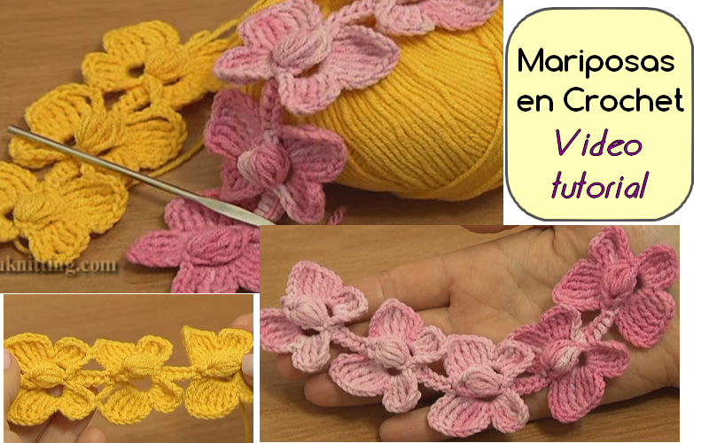 Cordón de Mariposas en Crochet - Video tutorial - Manualidades Y ...