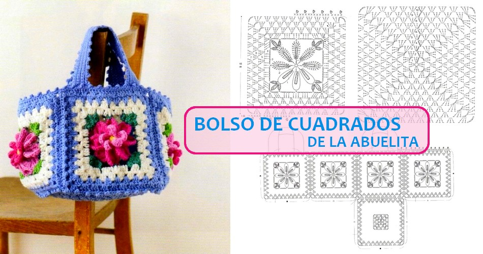 Bonito bolso de cuadrados de la abuelita - Manualidades Y ...