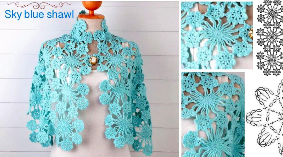 Chal Azul Cielo en Crochet - con patrones - Manualidades Y ...