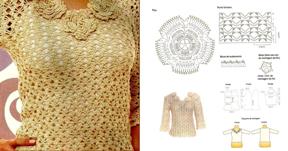 Hermosa blusa al crochet con flores (patrones