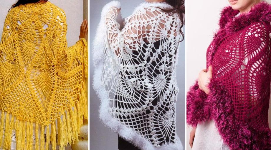 Precioso Chal semicírculo en Crochet con Patrones - Manualidades Y ...