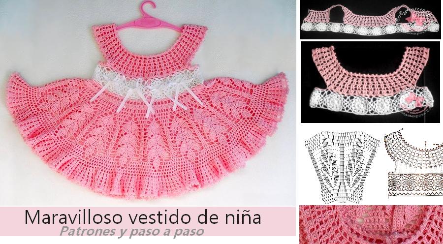 Patrón de vestido de niña a crochet ⋆ Manualidades Y ...