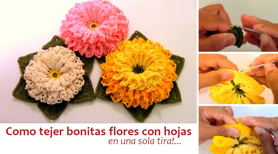 flores a crochet con hojas
