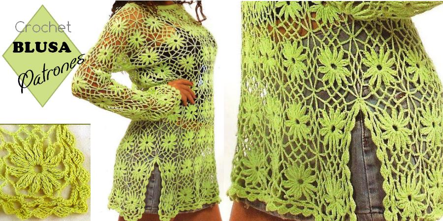 Blusa verde Tejida a Crochet Con Flores - Manualidades Y ...