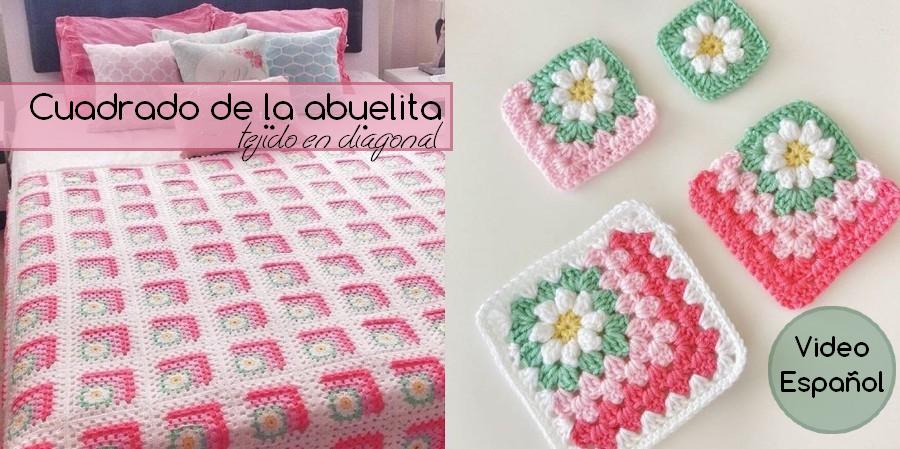 Cuadrado de la abuelita tejido en diagonal - Video español ...