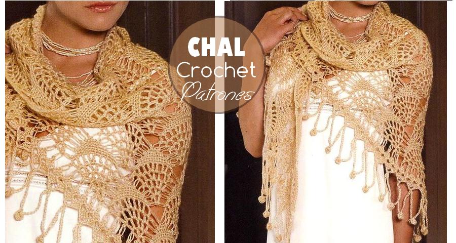 Patrón de Chal triangular tejido al crochet - Manualidades Y ...