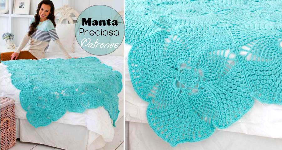 Bellísima manta tejida al crochet - Patrones ⋆ Manualidades Y ...