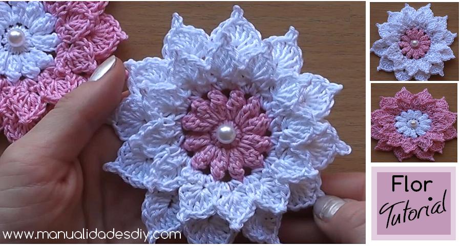 Como hacer una preciosa y sencilla flor de ganchillo Manualidades