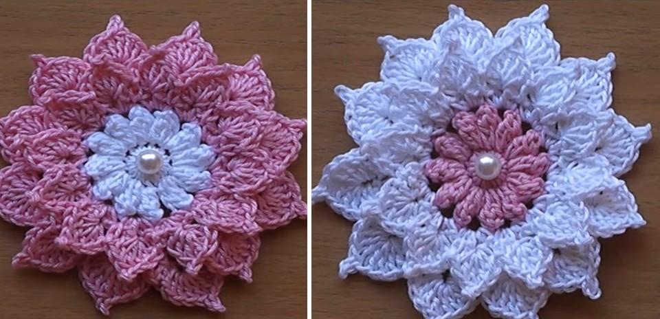 Como hacer una preciosa y sencilla flor de ganchillo - Hacer flores de ganchillo ...