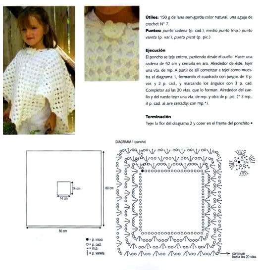 7 Ponchos de Ganchillo para Niños con Patrones - Manualidades Y ...