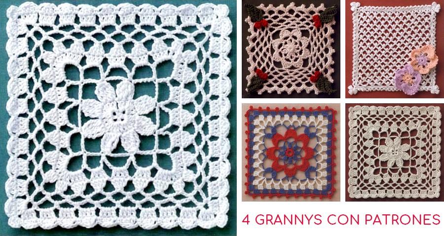 4 Hermosos Patrones de Granny Square a Crochet ⋆ Manualidades Y ...