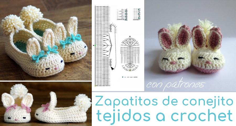 Zapatitos de conejito tejidos a crochet - Con patrones ...