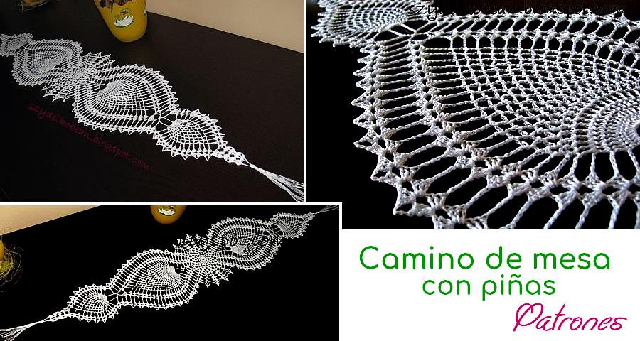Camino de mesa tejido a crochet con piñas - Manualidades Y ...