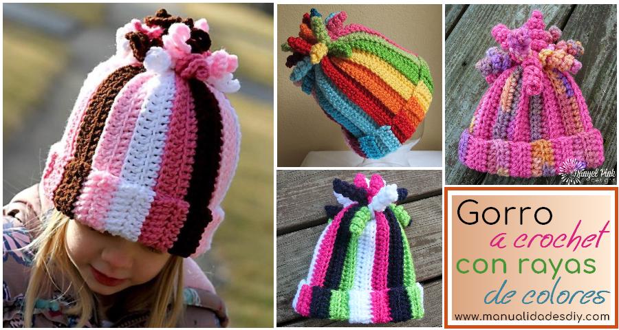Gorro a crochet con rayas de colores ⋆ Manualidades Y ...