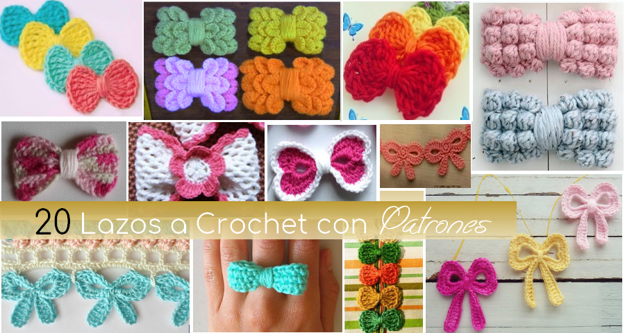 20 Lazos Tejidos a Crochet con Patrones - Manualidades Y ...