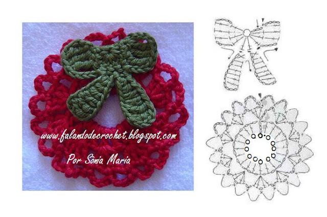 20 lazos tejidos a crochet con patrones manualidades y for Adornos navidenos tejidos a crochet 2016