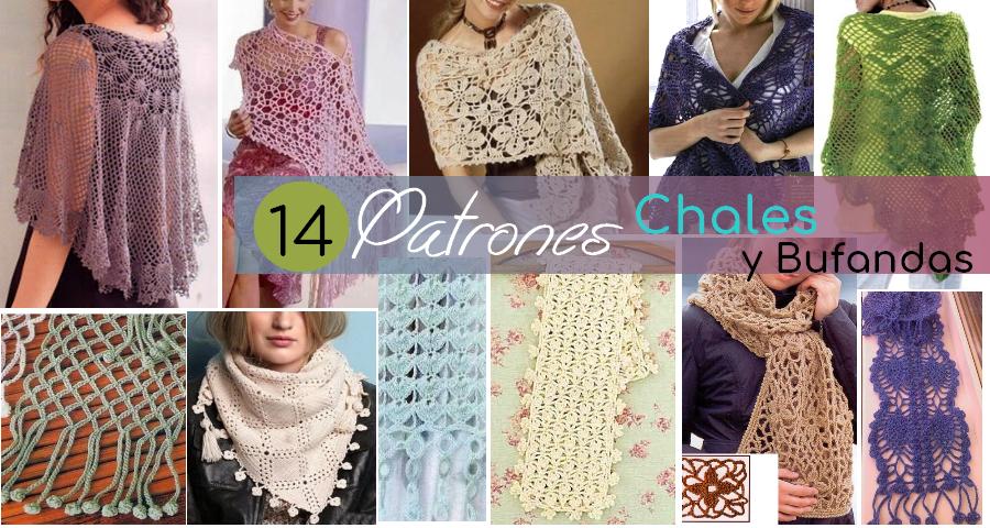 14 Encantadores Patrones de Chales y Bufandas - Manualidades Y ...