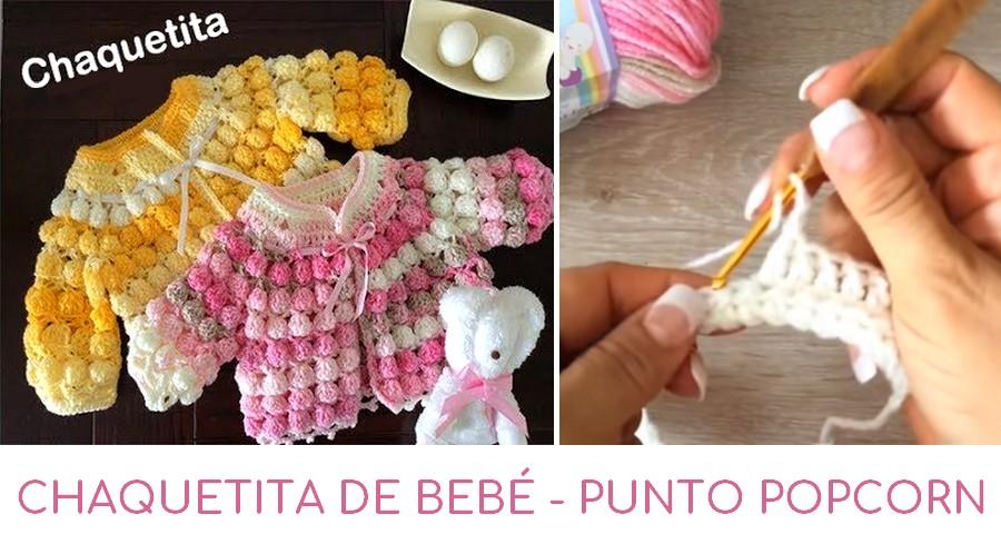 Chaquetita De Crochet Bebé Punto Popcorn A q6rq0