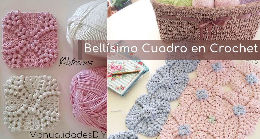 Bellísimo Cuadro En Crochet Para Mantas O Colchas Manualidades Y