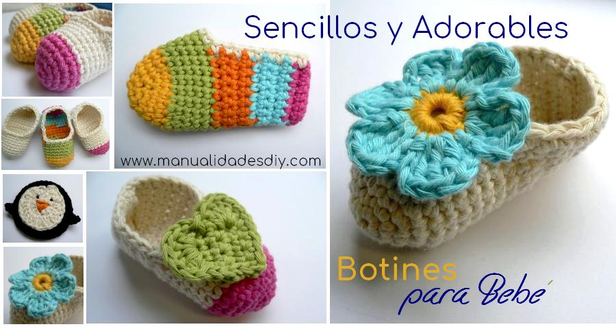 Sencillos y Adorables Botines para Bebé en Crochet - Manualidades Y ...