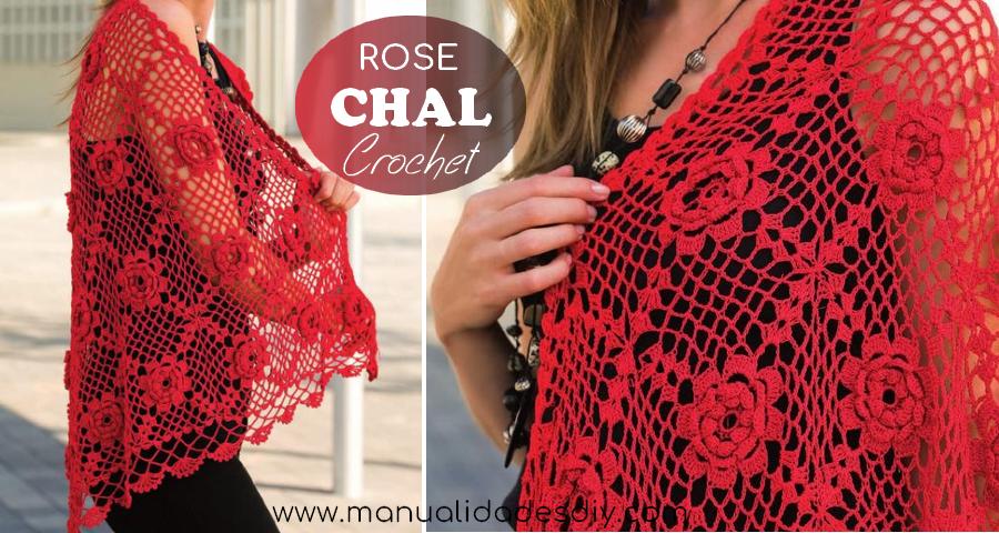 Patrones de Chal a Crochet con Rosas 3D - Manualidades Y ...