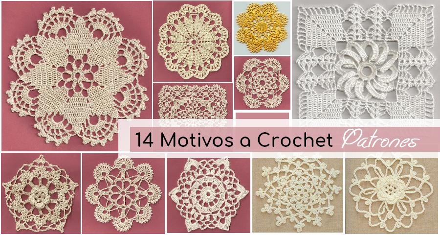 14 Patrones De Motivos Tejidos A Crochet Manualidades Y