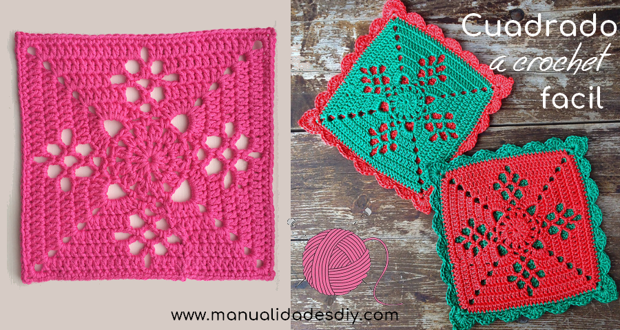 Precioso Cuadrado a Crochet - Muy Facil - Manualidades Y ...