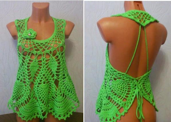 Blusa en crochet punto pi a con paso a paso y gr fico - Manualidades a crochet paso a paso ...