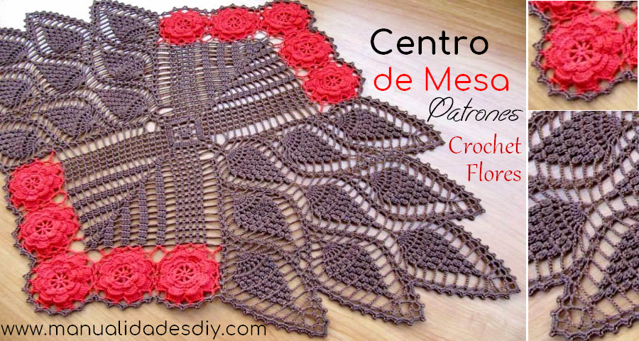 Centro de mesa com flores y pi as a crochet manualidades for Centro de mesa a crochet