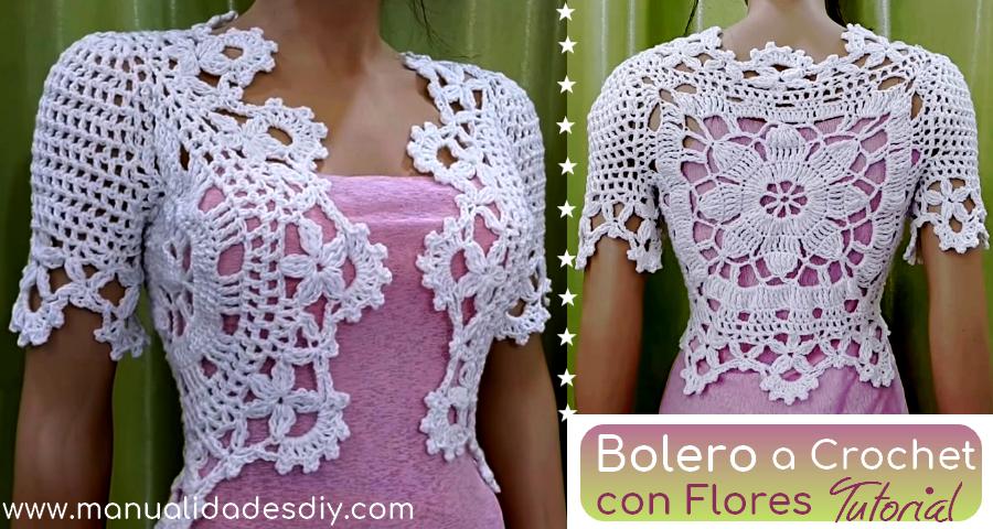 Elegante bolero a crochet con flores - Video y gráfico ...