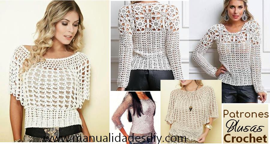 Fabulosas Blusas Tejidas a Crochet con Patrones ⋆ Manualidades Y ...