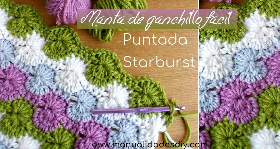 Manta de ganchillo f cil puntada starburst - Manta de crochet facil ...
