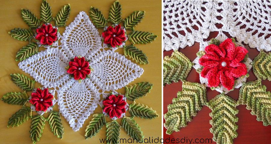 Precioso cami o de mesa a crochet con flores - Camino de mesa elegante en crochet ...