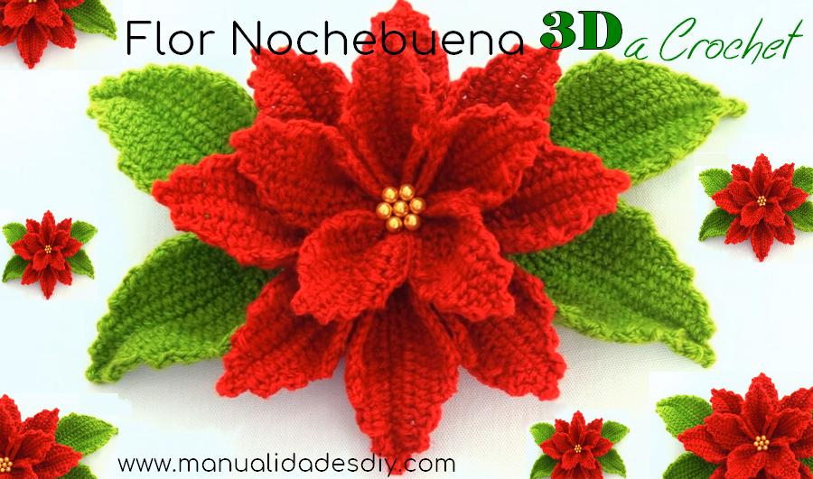 Como hacer flores de nochebuena a crochet 3d - Manualidades de ganchillo para navidad ...
