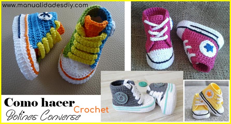 Como hacer Botines Converse de Bebé a Crochet ⋆ Manualidades Y ...