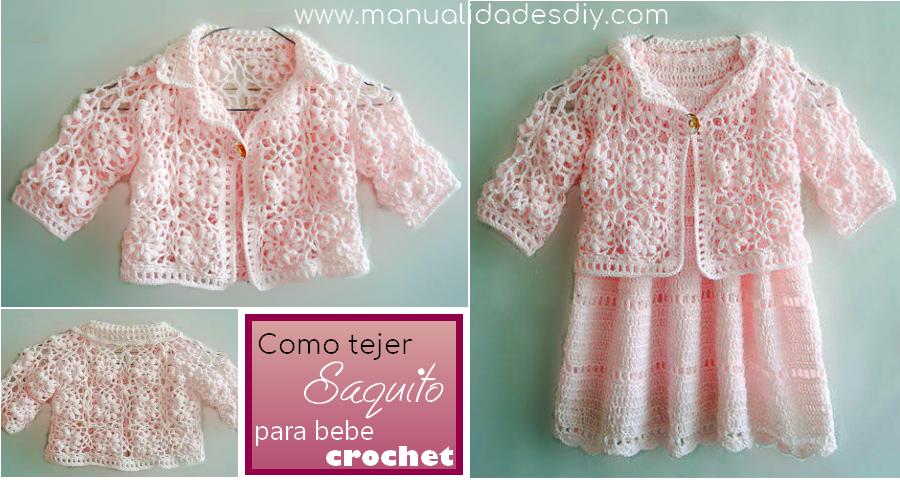 Como tejer un hermoso saquito para bebe al crochet ⋆ Manualidades Y ...