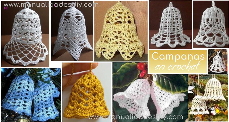 Patrones de Campanas Navideñas Tejidas a Crochet - Manualidades Y ...