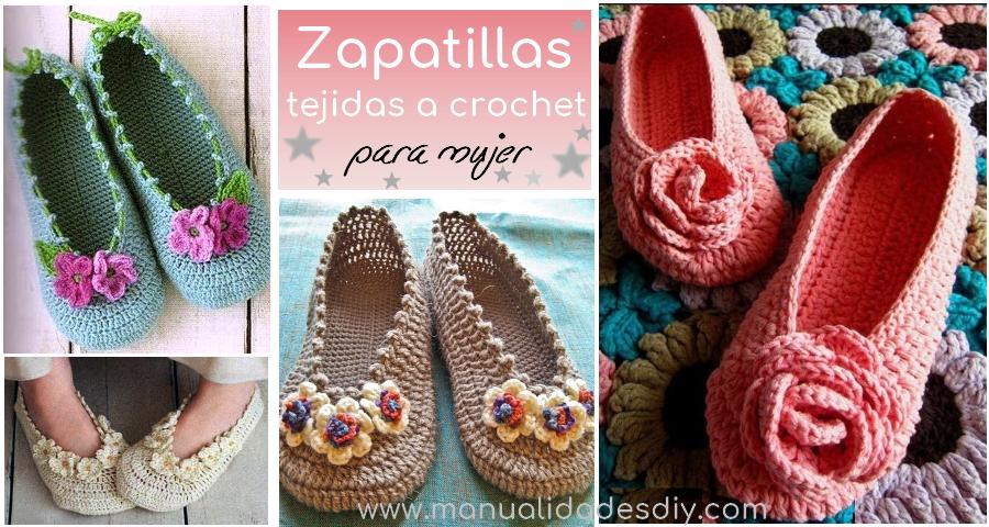 Zapatillas tejidas a crochet para mujer - Manualidades Y ...