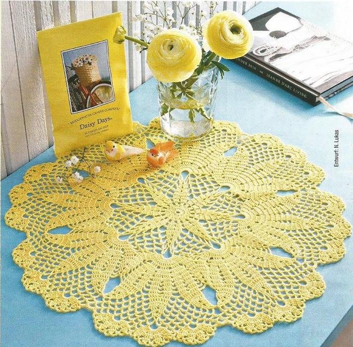Encantador Pequeños Patrones Pañito De Crochet Libre Ilustración ...