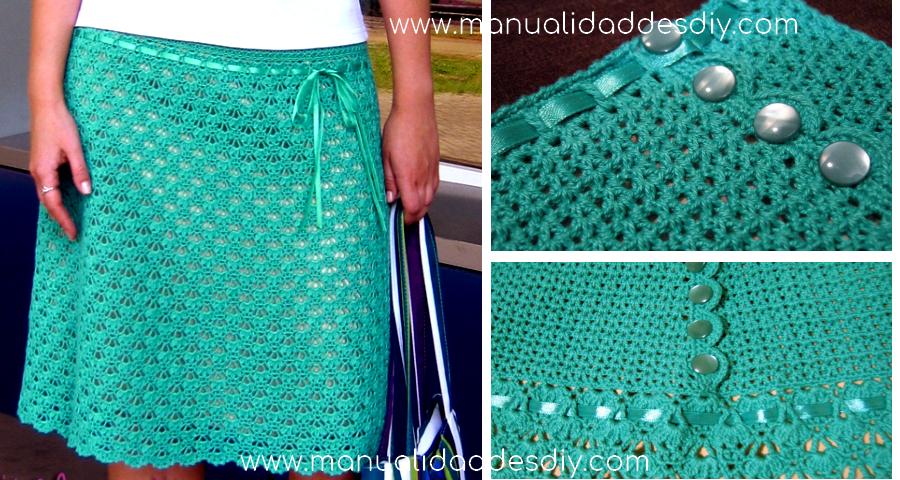 Falda original tejida a crochet para este verano - Manualidades Y ...