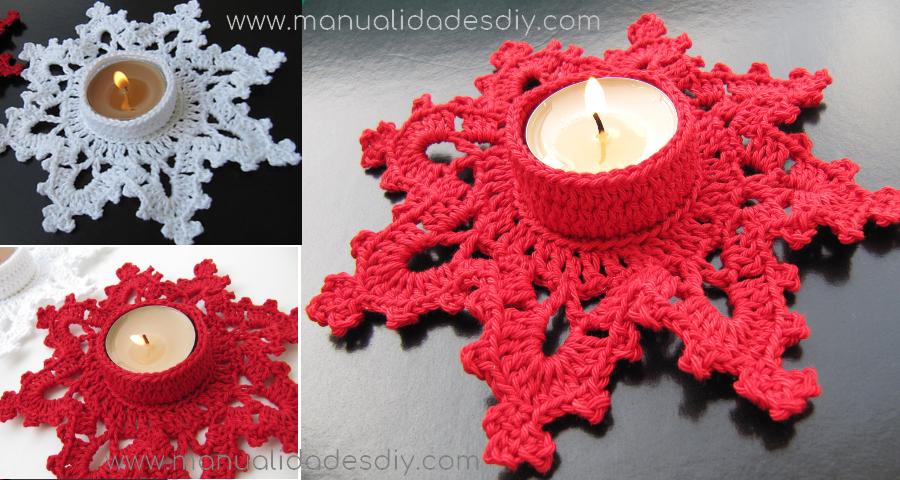 Portavelas a crochet especial NAVIDAD Manualidades Y